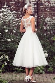 lace organza rustic a line tea length sleeveless simple wedding