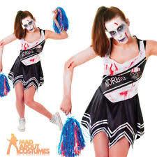 Zombie Cheerleader Costume Womens Zombie Cheerleader Black Size 10 14 Uk Fun Ladies Fancy