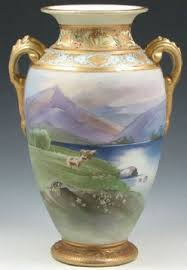 Nippon Vase Price Guide Nippon Porcelain Vase Landscape With Cows Green Mark 8 Inch