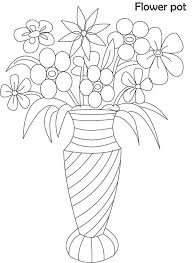 Vase Drawing Coloring Page Vase With Flowers Free Printable Coloring