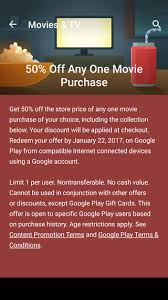 movies 50 off any movie or movie bundles on google play