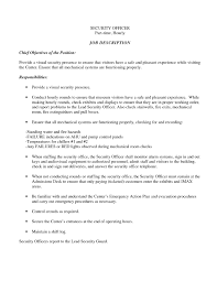 Job Resume Goals And Objectives by Security Job Resume Objective Free Resume Example And Writing