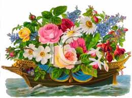 ship flowers ship of flowers with pansies royalty free clipart picture