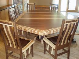 hickory dining room chairs 80 x 56 custom mixed wood double border timber edge dining table