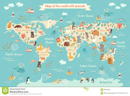 map animal for kid stock vector image 88455402