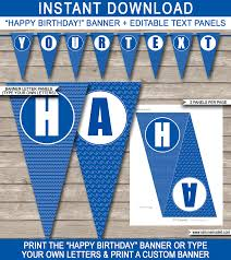 pool party banner template happy birthday banner editable bunting