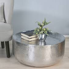 Hammered Metal Table L Hammered Metal Coffee Table With Bookshelf For Small Living