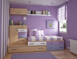 wonderful teenager room with purple walls and striped mattress