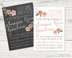 Naming Ceremony Invitation Card Floral Christening Baptism Naming Ceremony Or Baby Blessing