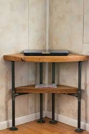 Solid Oak Corner Desk Reclaimed Wood Corner Table Desk Solid Oak W 26 Black Iron Pipe