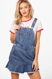 rosie denim pinafore dress boohoo