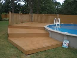 landscaping above ground pool landscaping with deck and ladder