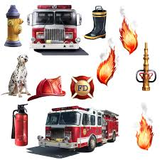 amazon com fire truck firefighter room decor giant wall decals roommates rmk1125scs fire brigade peel stick wall decal
