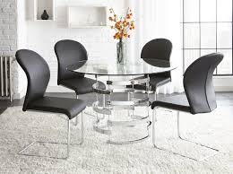 steve silver tayside 5 piece round glass table set with chrome