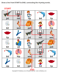draw line from start to end connecting rhyming words et worksheet