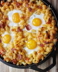 breakfast mac and cheese with baked eggs indulgent eats nyc