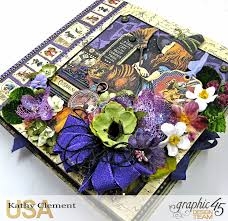 halloween in wonderland mini album with petaloo flowers kathy by