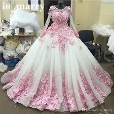 Wedding Dress Sub Indonesia Pink 3d Floral Ball Gown Wedding Dresses 2017 Muslim Islamic Long