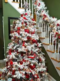 Home Decorations For Christmas Tree christmas home decorating flocked christmas tree red christmas