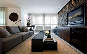 Stone Wall Living Room by Modern Living Room With Big Gray Sofa And White Tufted Chairs