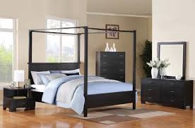 Modern Black Canopy Bed Frame  Housphere - Black canopy bedroom sets queen