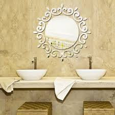 popular floral wall sticker buy cheap floral wall sticker lots round mirror floral wall stickers removable art decal mural home bathroom decor silver gold china