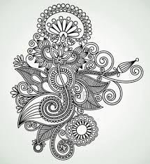 Traditional Design by Hand Draw Line Art Ornate Flower Design Ukrainian Traditional