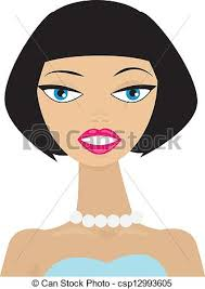 drawing of bob hair classic bob hairstyle vector illustration of an attractive