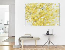 Gold Room Decor Original Art Yellow Grey Abstract Painting Flowers Floral Home