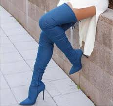womens denim boots uk knee high back lace up boots knee high boots lace up back