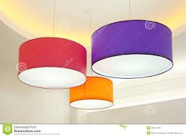Ceiling Lamp Shades Round Stylish Lampshades Hang From Ceiling Royalty Free Stock