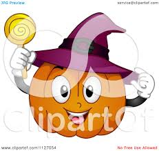 happy halloween clipart cartoon of a happy halloween pumpkin with a witch hat and sucker