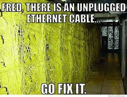 Cable Meme - fred theres an unplugged ethernet cable go fix it weknowmemes