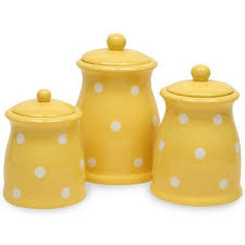 colorful kitchen canisters sets yellow polka dots 3 pc canister set would this in lime