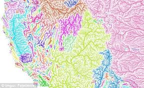 america map of rivers imgur user shows map of every river basin in the us daily mail