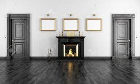 classic black fireplace in a vintage livingroom with two wooden