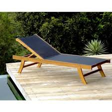 Outdoor Chaise Lounges Teak Outdoor Chaise Lounge With Black Mesh Sling Inf1750 Cozydays