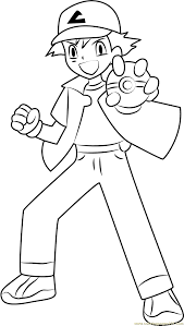 ash showing a pokeball coloring page free ash ketchum coloring