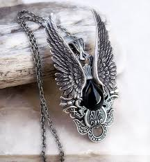 wings necklace pendant images Gothic pendant necklace with silver wings and black onyx jpeg