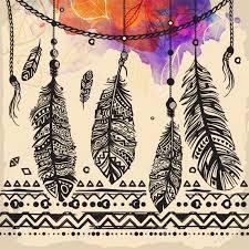 plumes vintage motif ethnique conception tribale tatouage pour