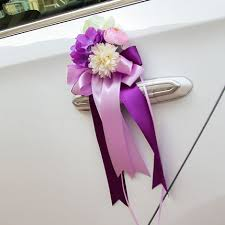 How To Decorate A Wedding Car With Flowers Aliexpress Com Buy Silk Rose Ribbon Flower Decoration For Car