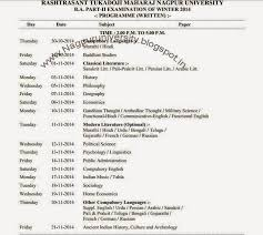 rtmnu b a part 2 time table winter 2014