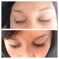 before and after photo of my eyelash extensions done by lee yelp