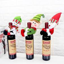christmas decorations for home party santa claus red wine bottle