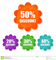 discount flowers 20 30 40 50 percentages discount in four colors flower