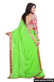 bollywood designer jacquard parrot green color saree with blouse