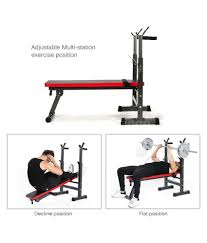 kobo folding multi exercise weight lifting bench with squat stand