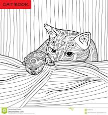 cat mother kitten coloring book adults zentangle