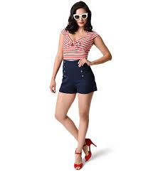 1940s style shorts high waisted pinup shorts sailor shorts