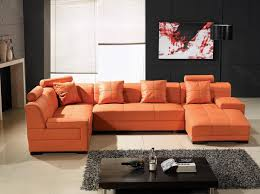 Orange Living Room Set Lovable Orange Leather Sofa Set And Sofa Set Interiorvues